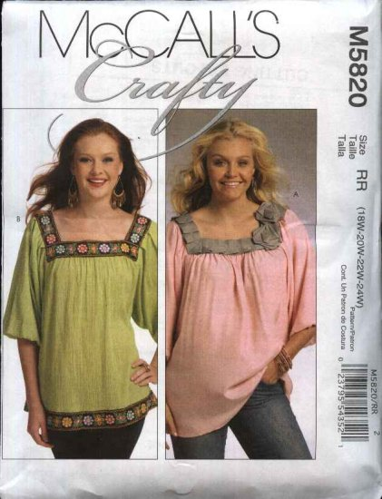 McCall's Sewing Pattern 5820 Womans Plus Size 18W-24W Pullover Peasant Tops Tunics