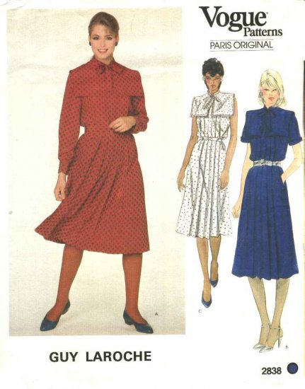 Vogue Sewing Pattern 2838 Misses Size 10 Guy LaRoche Paris Original Pleated  Dress