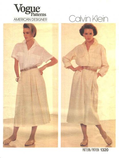 Vogue Sewing Pattern 1320 Misses Size 12 Calvin Klein American Designer Dress Shirt Skirt