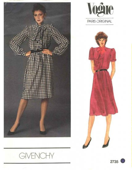 Vogue Sewing Pattern 2735 Misses Size 10 Givenchy Paris Original Day Dress