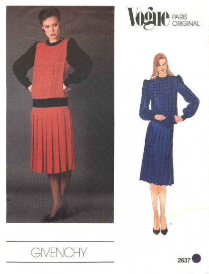 Vogue Sewing Pattern 2637 Misses Size 10 Givenchey Paris Original Pullover Top Pleated Skirt