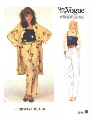 Vogue Sewing Pattern 2875 Misses Size 10  Christian Aujard Pants Camisole Coat Jacket