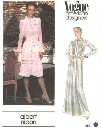 Vogue Sewing Pattern 2641 Misses Size 10 Albert Nipon American Designer Long Short Dress Slip