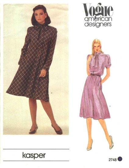 Vogue Sewing Pattern 2748 Misses Size 10 Kasper American Designers Flared Short Dress