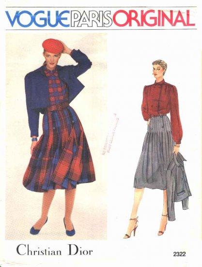 Vogue Sewing Pattern 2322 Misses Size 10 Christian Dior Paris Original Jacket Blouse Skirt