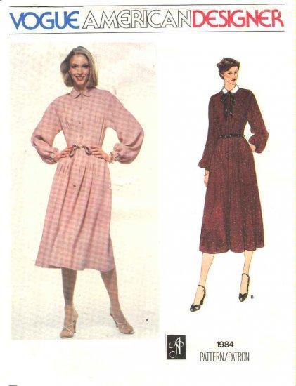 Vogue Sewing Pattern 1984 Misses Size 10 Albert Nipon American Designer Long Sleeve Dress Belt