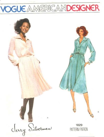 Vogue Sewing Pattern 1829 Misses Size 10 Jerry Silverman American Designer Long Sleeve Dress