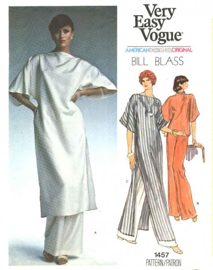 Vogue Sewing Pattern 1457 Misses Size 10 Bill Blass American Designer Easy Evening Tunic Pants