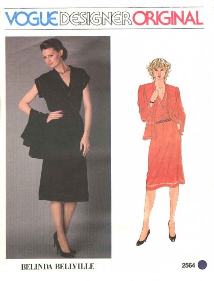 Vogue Sewing Pattern 2564 Misses Size 10 Belinda Bellville Designer Original Cardigan Jacket Dress