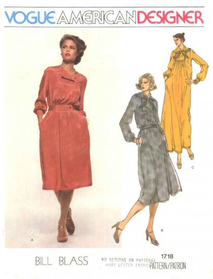 Vogue Sewing Pattern 1718 Misses Size 10 Bill Blass American Designer Loose Pullover Dress
