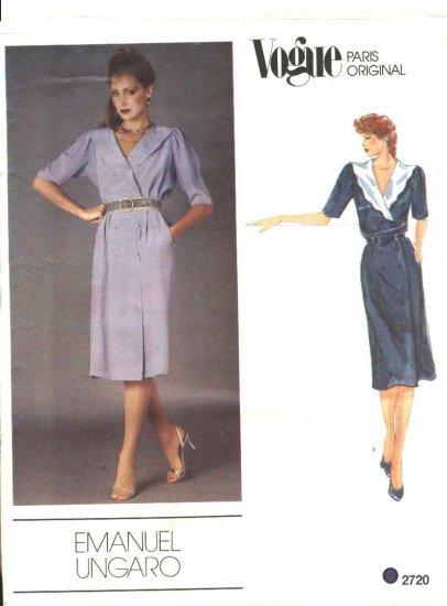 Vogue Sewing Pattern 2720 Misses Size 10 Emanuel Ungaro Paris Original Short Sleeve Straight Dress