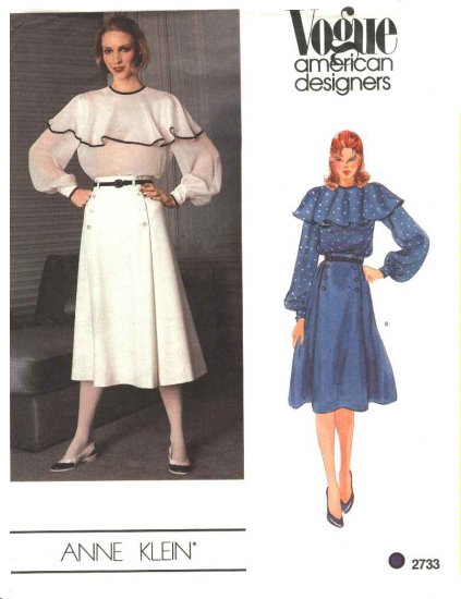 Vogue Sewing Pattern 2733 Misses Size 10 Anne Klein American Designer Pullover Blouse Skirt