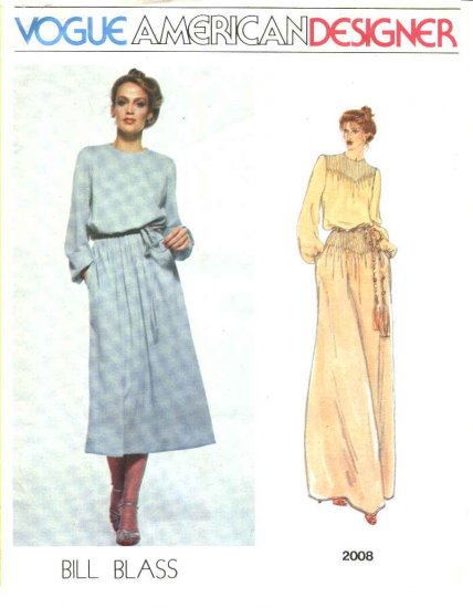 Vogue Sewing Pattern 2008 Misses Size 10 Bill Blass American Designer Evening Short Dress