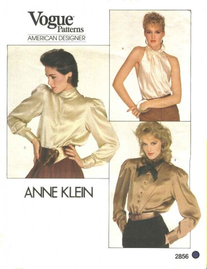 Vogue Sewing Pattern 2856 Misses Size 10 Anne Klein American Designer Long Sleeve Halter Blouse