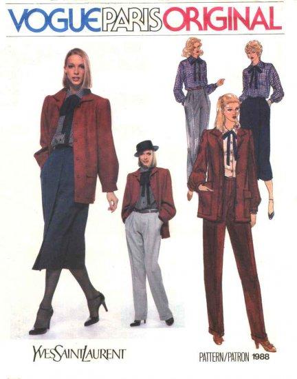 Vogue Sewing Pattern 1988 Misses Size 10 Yves Saint laurent Paris Original Pants Blouse Skirt Jacket