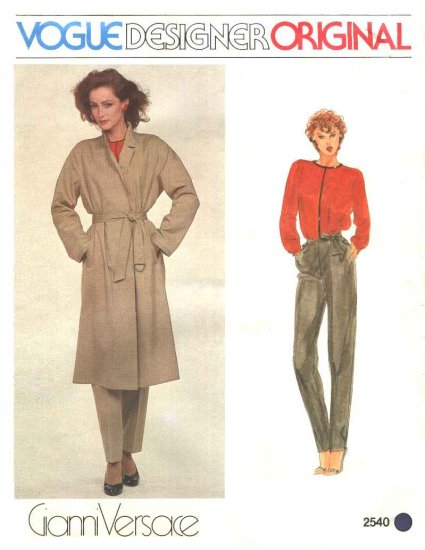 Vogue Sewing Pattern 2540 Misses Size 10 Gianni Versace Designer Original Coat Top Pants Belt