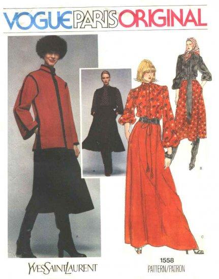 Vogue Sewing Pattern 1558 Misses Size 10 Yves Saint laurent Paris Original Jacket Vest Skirt Blouse
