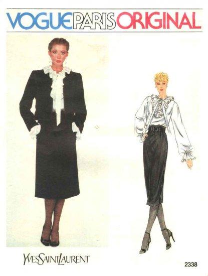 Vogue Sewing Pattern 2338 Misses Size 10 Yves Saint Laurent Paris Original Jacket Skirt Blouse