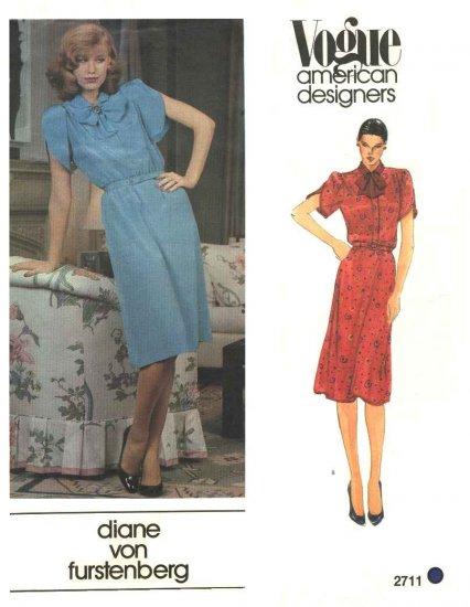 Vogue Sewing Pattern 2711 Misses Size 10 Diane Von Furstenberg American Designer Pullover Dress