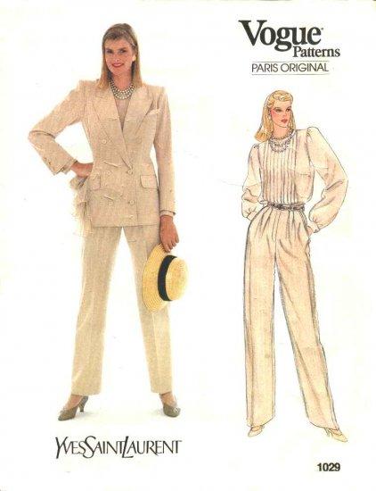 Vogue Sewing Pattern 1029 Misses Size 10 Yves Saint Laurent Paris Original Blouse Pants Jacket