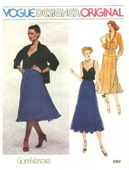 Vogue Sewing Pattern 2167 Misses Size 10 Gianni Versace Designer Original Jacket Camisole Skirt