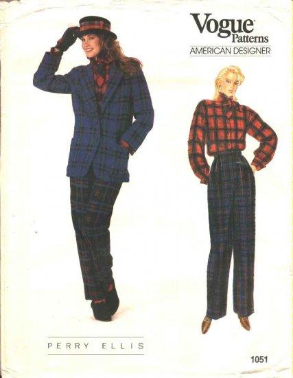 Vogue Sewing Pattern 1051 Misses Size 6-10 Perry Ellis American Designer Jacket Pants Blouse Tie
