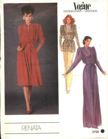 Vogue Sewing Pattern 2700 Misses Size 10 Renata International Designer Formal Long Dress Tunic