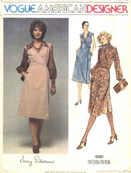 Vogue Sewing Pattern 1580 Misses Size 10 Jerry Silverman American Designer Dress Wrap Jumper