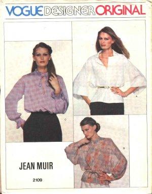 Vogue Sewing Pattern 2109 Misses Size 10 Jean Muir Designer Original Three Long Sleeve Blouses