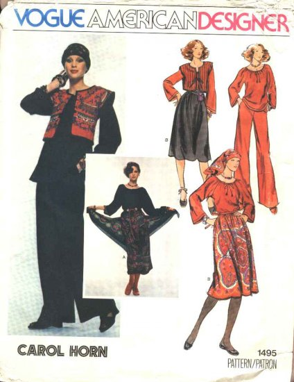 Vogue Sewing Pattern 1495 Misses Size 10 Carol Horn American Designer Peasant Top Skirt Pants Vest