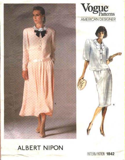 Vogue Sewing Pattern 1842 Misses Size 10 Albert Nipon American Designer Skirts Tops 2- Piece Dress