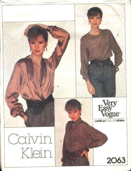 Vogue Sewing Pattern 2063 Misses Size 10 calvin Klein American Designer 3 Classic Blouses Shirt