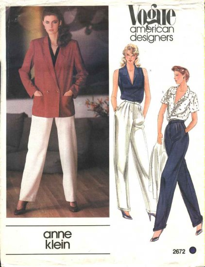 Vogue Sewing Pattern 2672 Misses Size 10 Anne Klein American Designer Jacket Pants Blouse