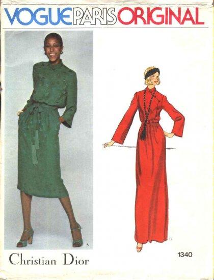 Vogue Sewing Pattern 1340 Misses Size 10 Christian Dior Paris Original Formal Long Short Dress