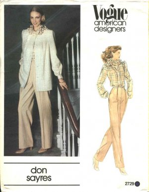 Vogue Sewing Pattern 2729 Misses Size 10 Don Sayres American Designer Jacket Pants Blouse
