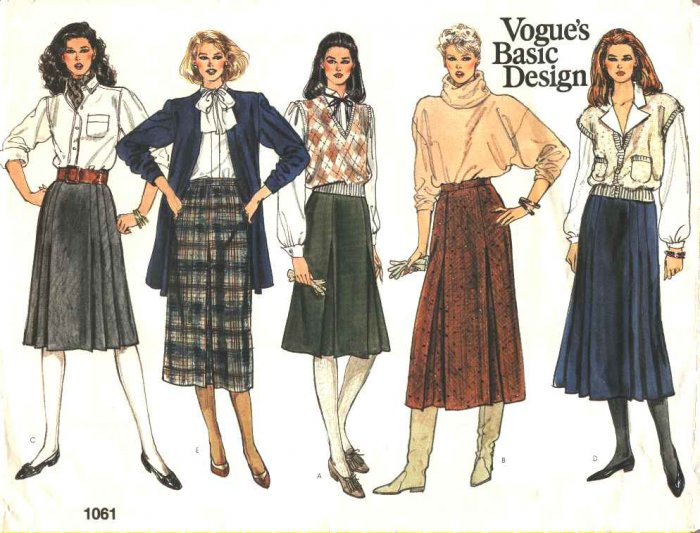 Vogue Sewing Pattern 1061 Misses Size 8-12 Basic Classic A-Line Pleated Fitted Skirts