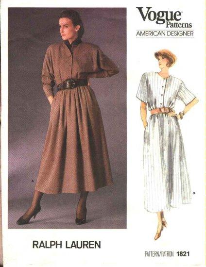 Vogue Sewing Pattern 1821 Misses Size 6-10 Ralph Lauren American Designer Button Front Dress