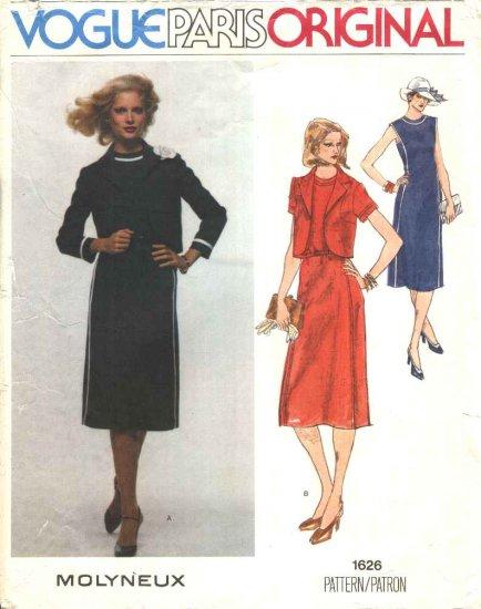 Vogue Sewing Pattern 1626 Misses Size 10 Molyneux Paris Original Dress Jacket Bolero Shrug