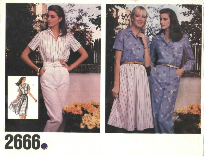 Vogue Sewing Pattern 2666 Misses Size 10  Button Front Blouse Shirt Flared Skirt Long Pants Top