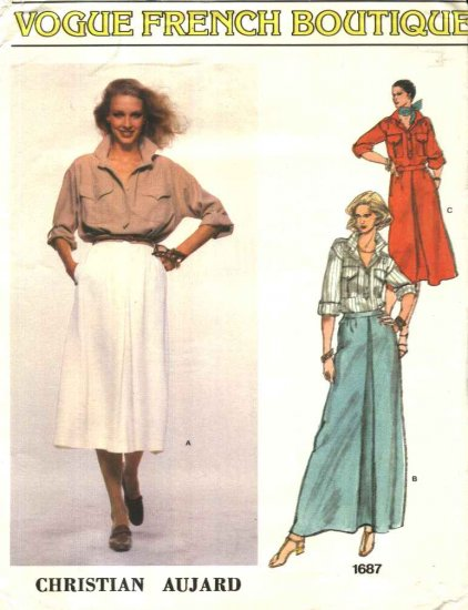 Vogue Sewing Pattern 1687 Misses Size 10 Christian Aujard French Boutique Skirt Shirt