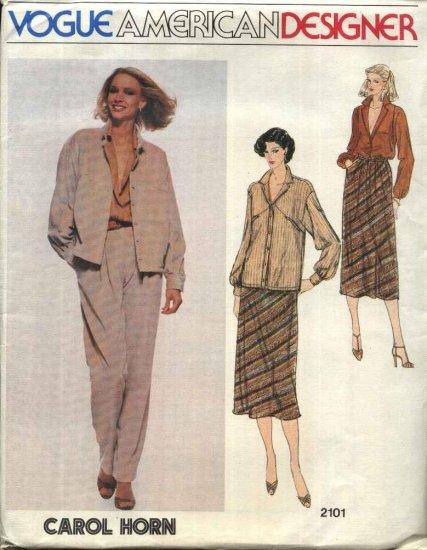 Vogue Sewing Pattern 2101 Misses Size 10 Carol Horn American Designer Jacket Skirt Pants Blouse