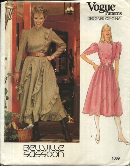 Vogue Sewing Pattern 1069 Misses Size 10 Bellville Sassoon Designer Original Full Skirt Dress