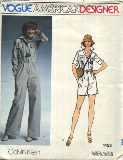 Vogue Sewing Pattern 1453 Misses Size 10 Calvin Klein American Designer Jumpsuit Romper Safari