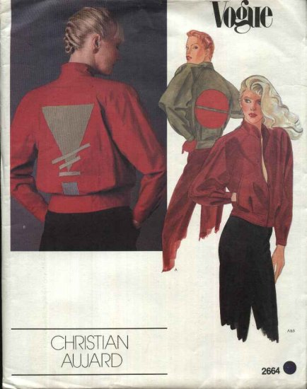 Vogue Sewing Pattern 2664 Misses Size 10 Christian Aujard Designer Original Baseball Jacket