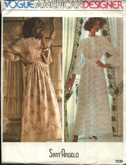 Vogue Sewing Pattern 1230 Misses Size 10 Sant'Angelo American Designer Long Sleeve Dress