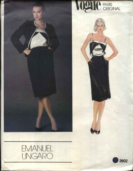 Vogue Sewing Pattern 2602 Misses Size 10 Emanuel Ungaro Paris Original Jacket Camisole Skirt Suit