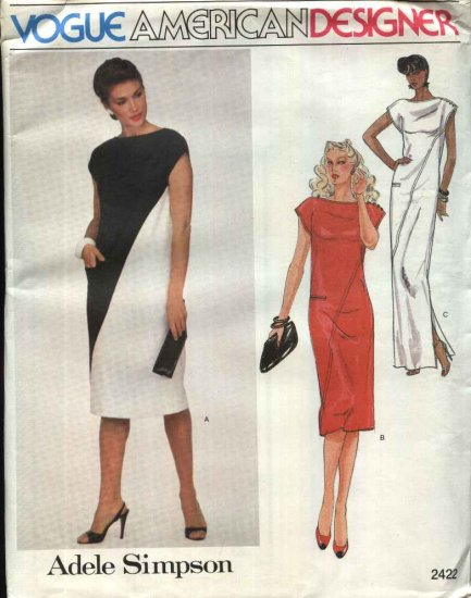 Vogue Sewing Pattern 2422 Misses Size 10 Adele Simpson American Designer Long Short Dress