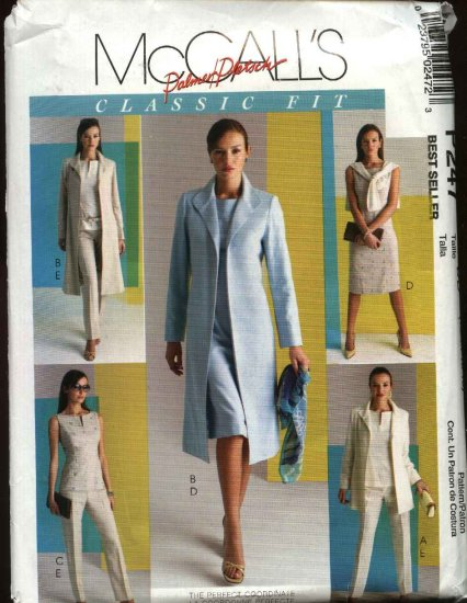 McCall�s Sewing Pattern P247 Misses Size 12-18 Classic Fit Wardrobe Dress Jacket Pants Top