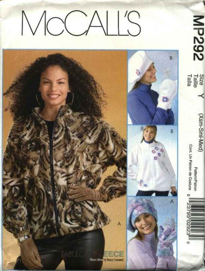 McCall's Sewing Pattern P292 4666 Misses Size 4-14 Fleece Chenille Zipper Front Jackets Hats Mittens