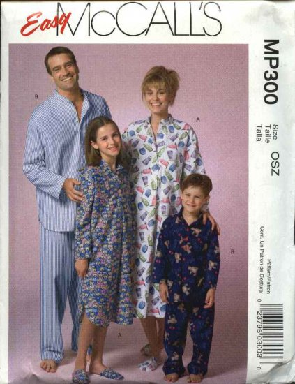 McCall's Sewing Pattern P300 Misses Mens Boys Girls Unisex All Size Nightshirts Pajamas Pants Tops